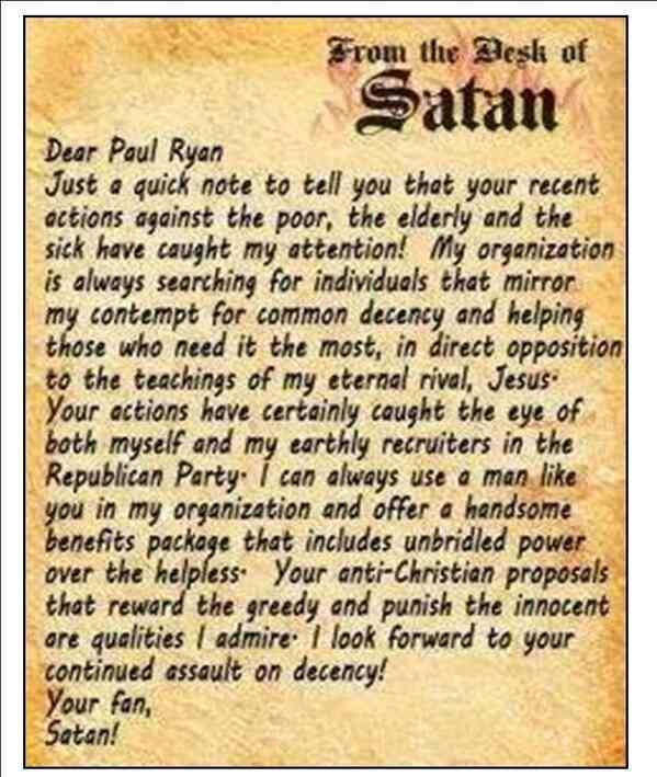 To Paul Ryan from Satan