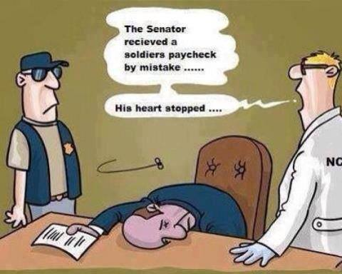 Senators heart stops seeing paycheck