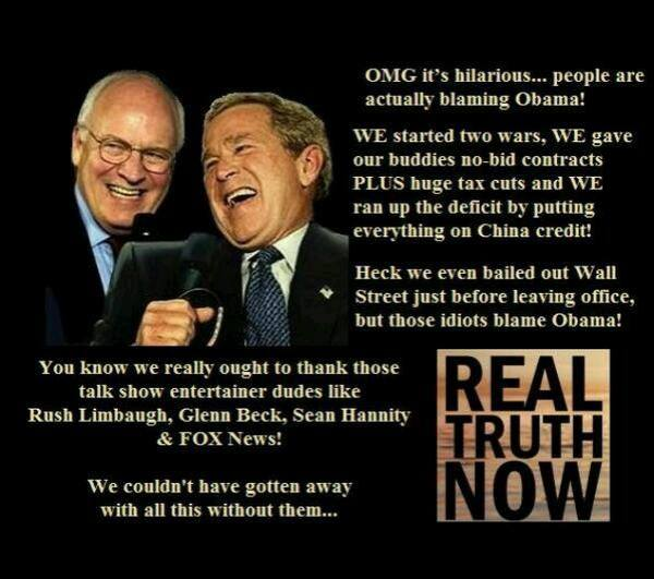 bush and cheney laughing at America