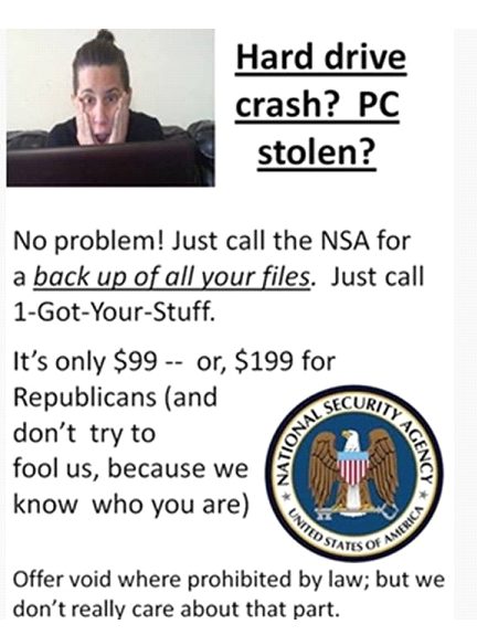 Call NSA for lost stuff
