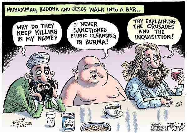 Jesus,Buddha and Muhammad walk into bar