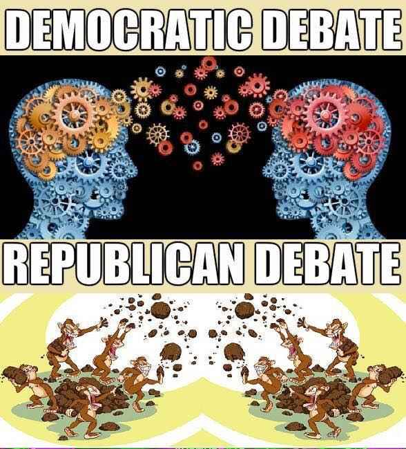 The difference between the two party's debates.